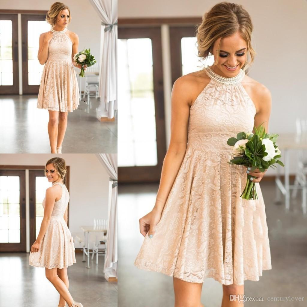 New Cheap Country Short Blush Pink Bridesmaid Dresses For Weddings Jewel Halter Full Lace Peals Sleeveless Plus Size Maid of Honor Gowns