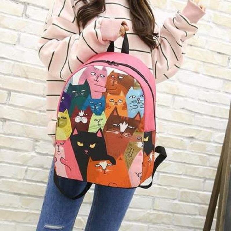 f8e51378fbfb High Quality Cute Cartoon Cat Printing Bookbag For Student Teenager ...
