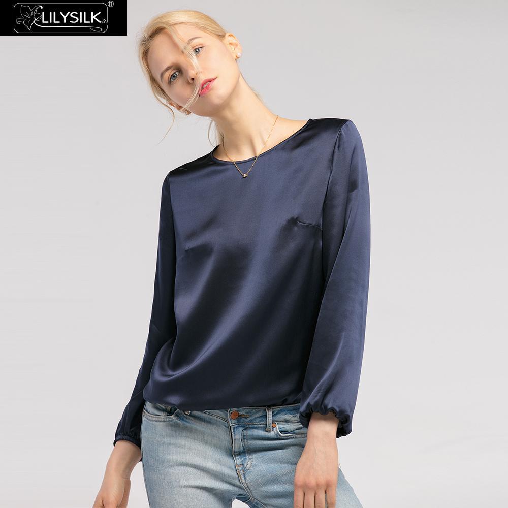 8499ddc293d7 LilySilk blusa camisa de seda para las mujeres elegante cuello redondo 22  momme verano damas envío gratis