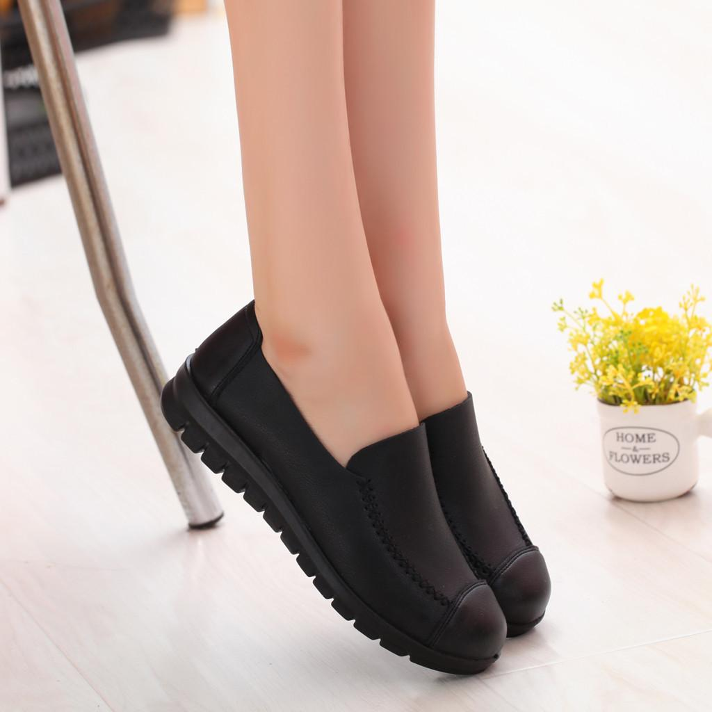 96d28198ed4 Shoes Youyedian Leisure Woman Round Toe Soft Bottom Middle Aged Lady ...