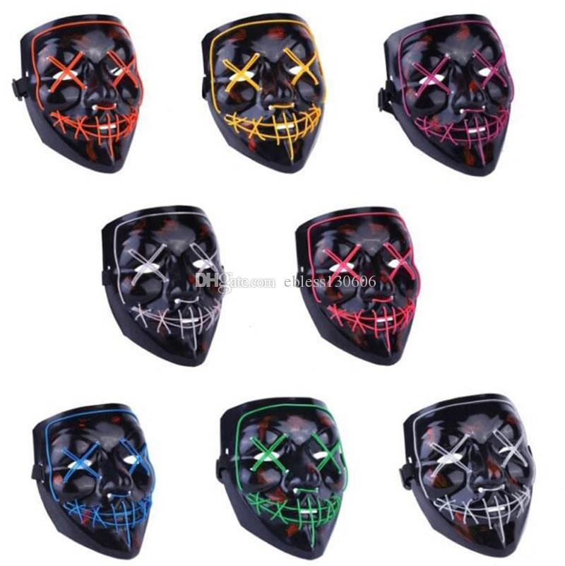 Led Lighted Rave Toy Halloween Supplies Funny Horror EL Wire Mask Party Masque Masquerade Masks Neon Light In The Dark Horror Glowing Masks