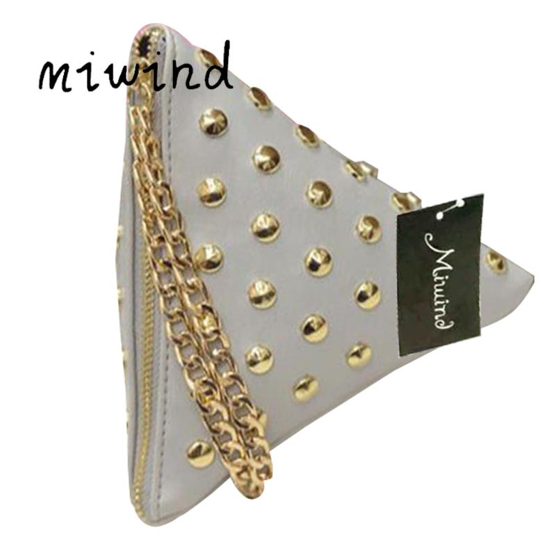 MIWIND women clutch rivet leather bags Triangular zipper bag ladies purse party bags high quality handbag 2017 LM4361fb
