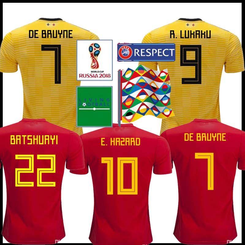 quality design d96bd 28630 Belgium Soccer jersey 2018 LUKAKU home away DE BRUYNE FELLAINI E.HAZARD  KOMPANY Belgium football shirt men World Cup soccer jersey
