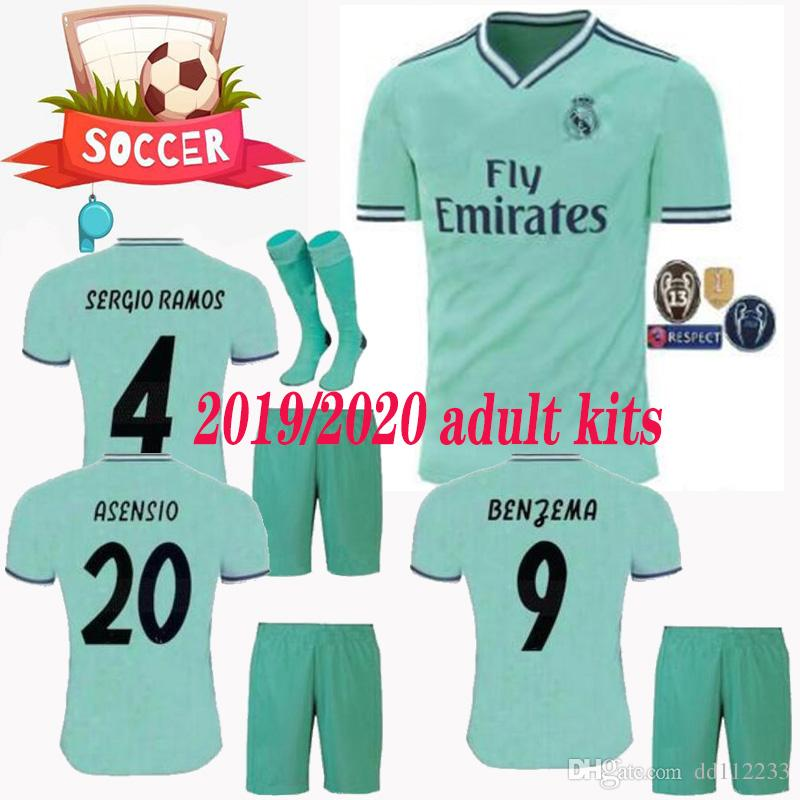 factory authentic 5658f efaf3 newest 2019 2020 adult real Madrid MODRIC Marcelo kroos socks 19 20 soccer  jersey BALE ASENSIO ISCO RAMOS champions league Third Kit jersey