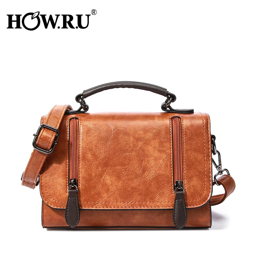 f9e4c612ff Vintage Brown Women Satchels Female Handbags Casual PU Leather Hand Bag  Women S Messenger Bag 2019 Brand New Crossbody Bag Duffle Bags Messenger  Bags For ...