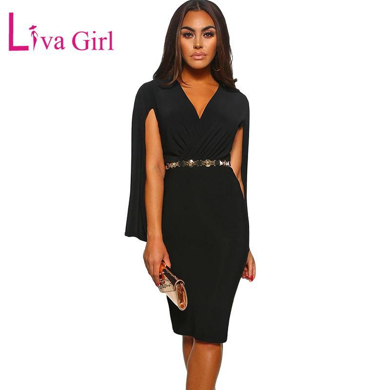 75c55b500 Compre LIVA GIRL Elegante Bodycon Party Midi Vestido Mujer 2019 Fruncido  Cape Wrap Front Sexy V Cuello Vestidos Casual Formal Femenino Vestidos A   30.55 Del ...