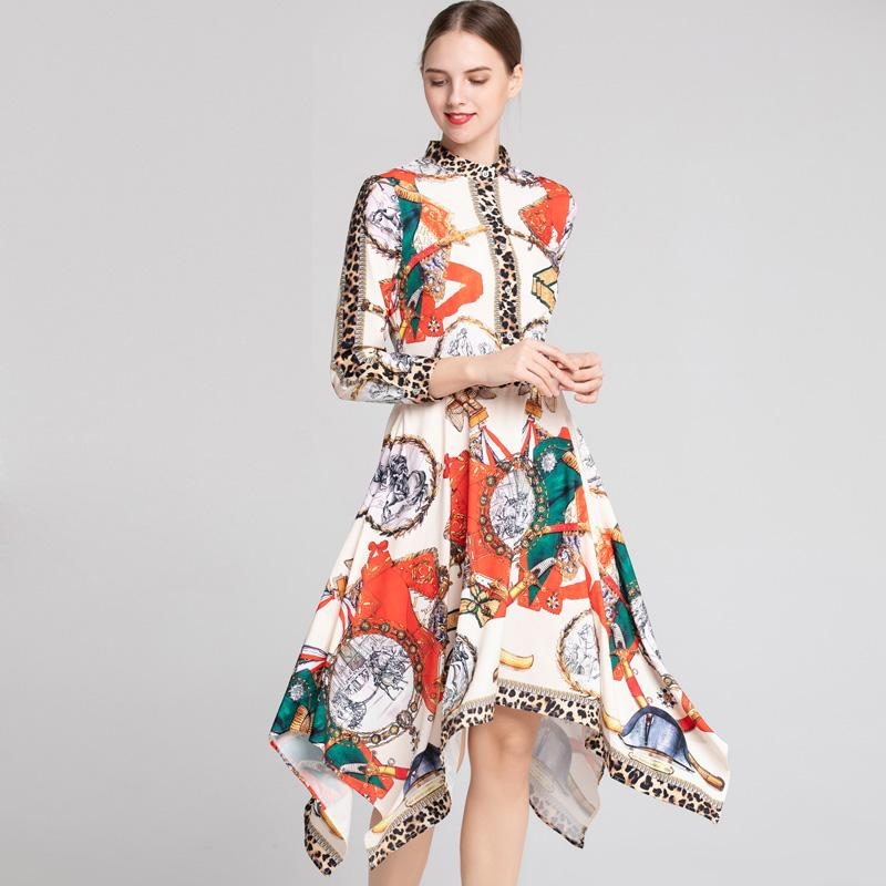 2019 Women s Runway Dresses O Neck Long Sleeves Leopard Printed Patterns  Asymmetrical Fashion Designer Casual Dresses Runway Dresses Elegant Dresses  Evening ... 0b9ba560d8ae