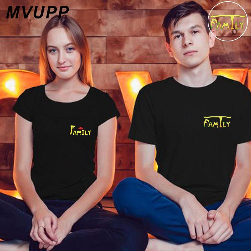 Family print clothes couple t shirt lover men women plus size ulzzang costume husband and wife boyfriends tee femme valentine