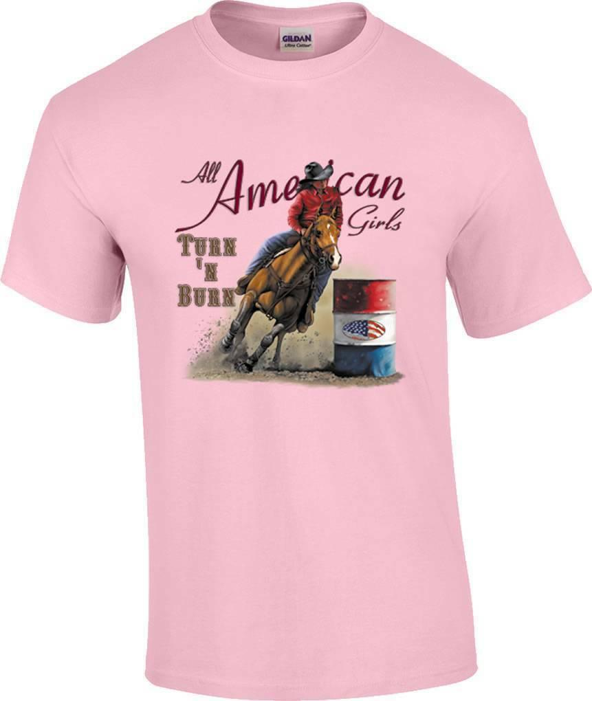 Tournez N Burn Barrel Racing Rodeo Cheval Cowgirl T-ShirtFunny livraison gratuite Unisexe Casual Tshirt