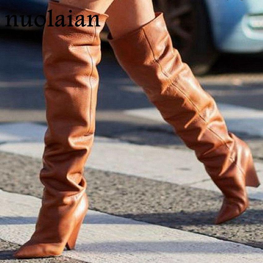 66a86ca61d1fa Compre 9 CM Tacones Altos Botas Altas De Muslo Zapatos Mujer De Piel  Sintética Invierno Nieve Zapato Mujer Cuero Negro Botas Sobre La Rodilla  Botas Largas ...