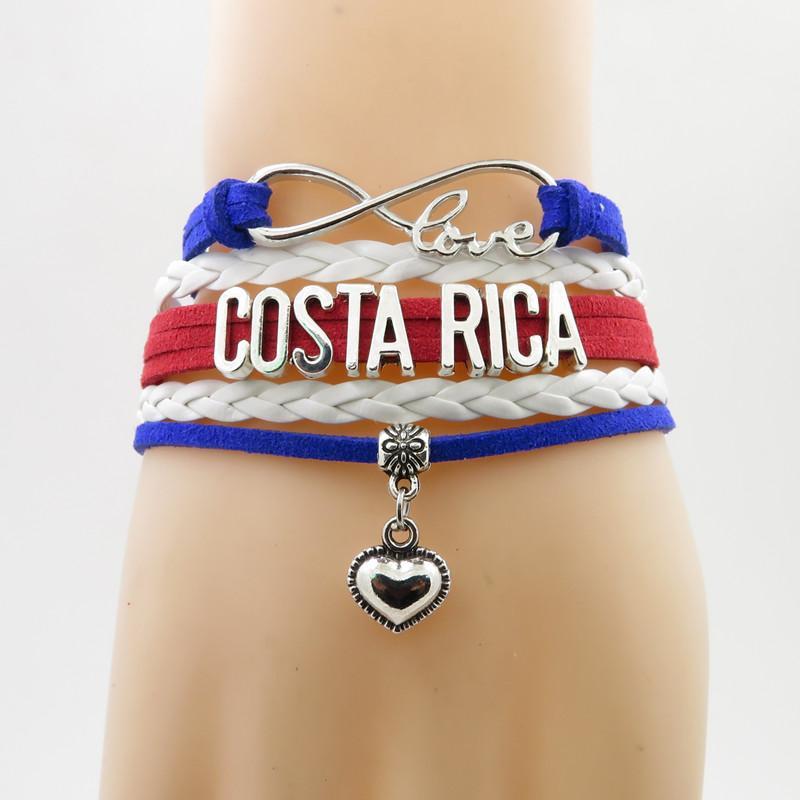бесконечность любовь Коста-Рика браслет сердце браслет любовь Коста-Рика флаг браслеты браслет для женщин и мужчин ювелирные изделия
