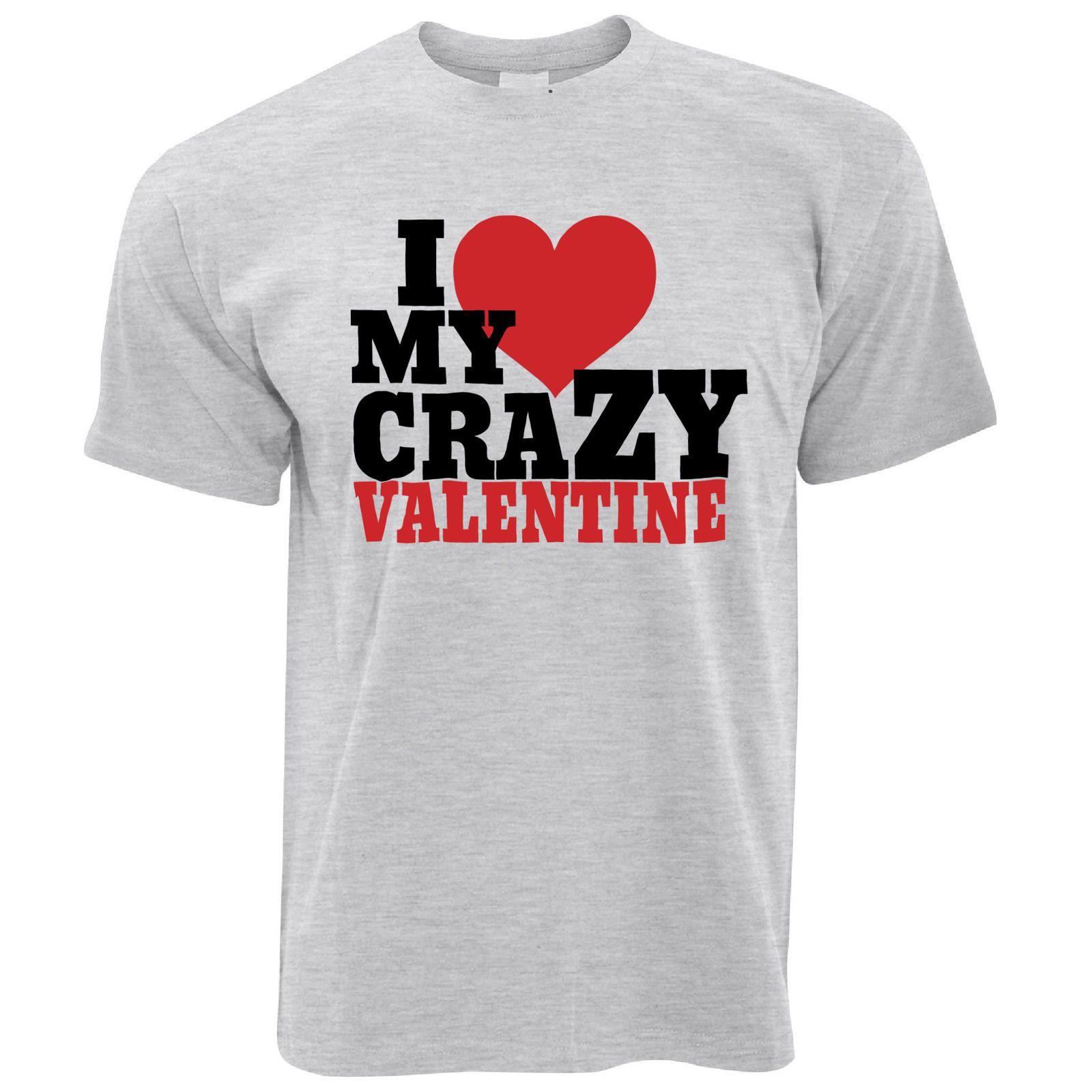 89825df7 Couples T Shirt I Love My Crazy Valentine Valentine's Day Sassy Joke Cute