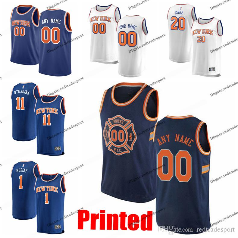 size 40 36390 bbad9 Printed New York City Knicks Emmanuel Mudiay Dennis Smith Jr. Frank  Ntilikina Kevin Knox 6 DeAndre Jodan Allen Edition Basketball Jersey