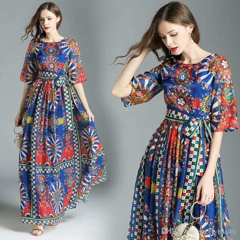 349077b00273 2019 Chiffon Long Maxi Dress For Women Summer Vintage Print Beach Dress  Half Sleeve Slim Fit Elegant Casual Long Dresses From Preetybeauty