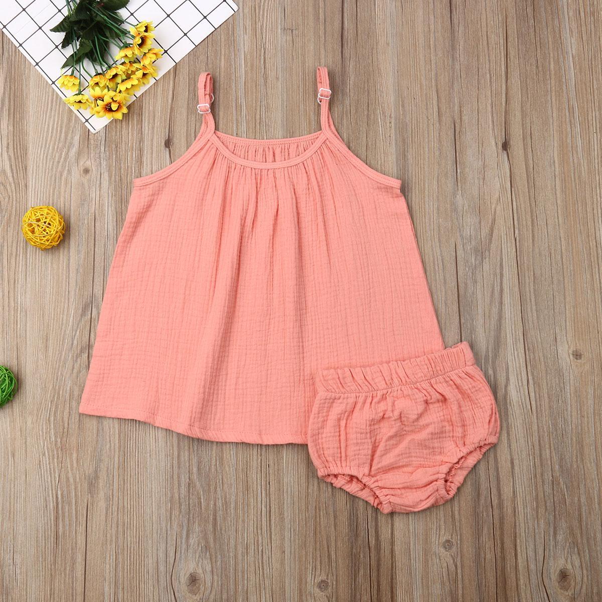 Bambino dei capretti neonate colore solido senza maniche lunghe Tops + mini shorts casuale vestiti del capretto abbigliamento estivo