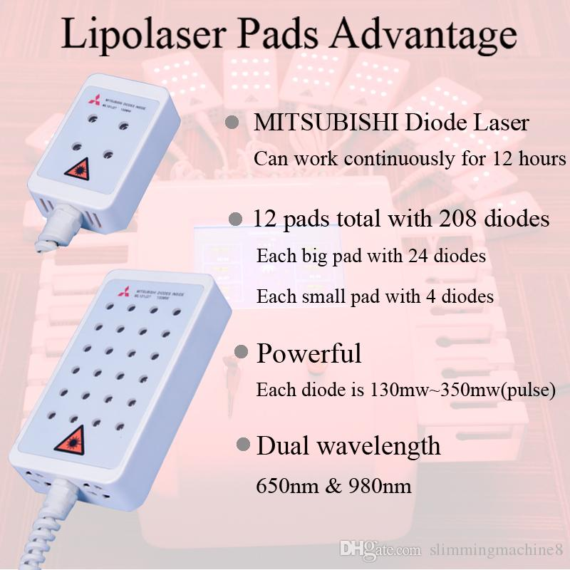 lipo laser slimming fat loss machine Fast Fat Burning Remover laser weight loss machine pads