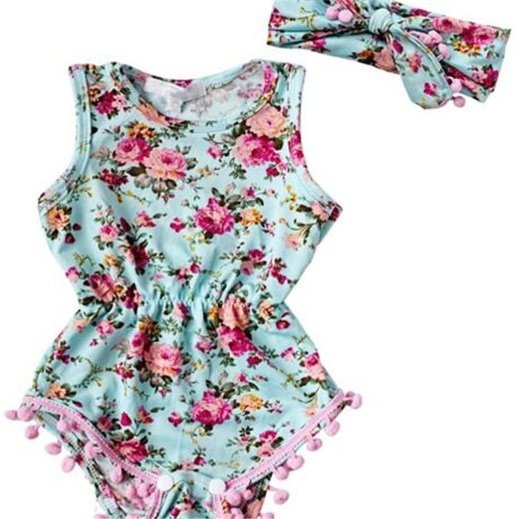 63ec94c72ae8 2019 Baby Romper Baby Girls Romper Suits Kids Ins Cartoon Flower Sleeveless  Triangle Rompers+Hair Band Set Baby Clothing DHL FJ84 From Mask01
