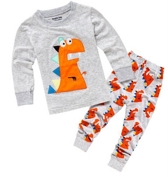 Dinosaur Pajamas Children Sleepwear Long Sleeve Cotton Sweater Pajamas Boys Nightwear Sleepwear From Day Kids Witches