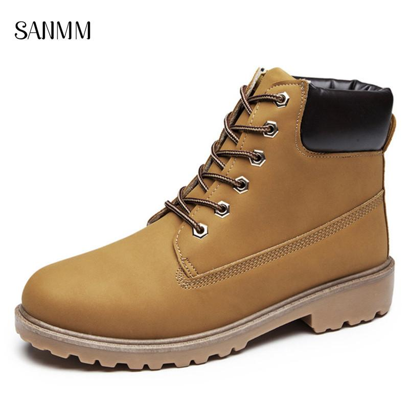 SANMM Men Spring Autumn Non-Slip Casual Boots Man Winter Lace-Up Warm Fur Shoes Lovers Ankle PU Leather Boots AZ36