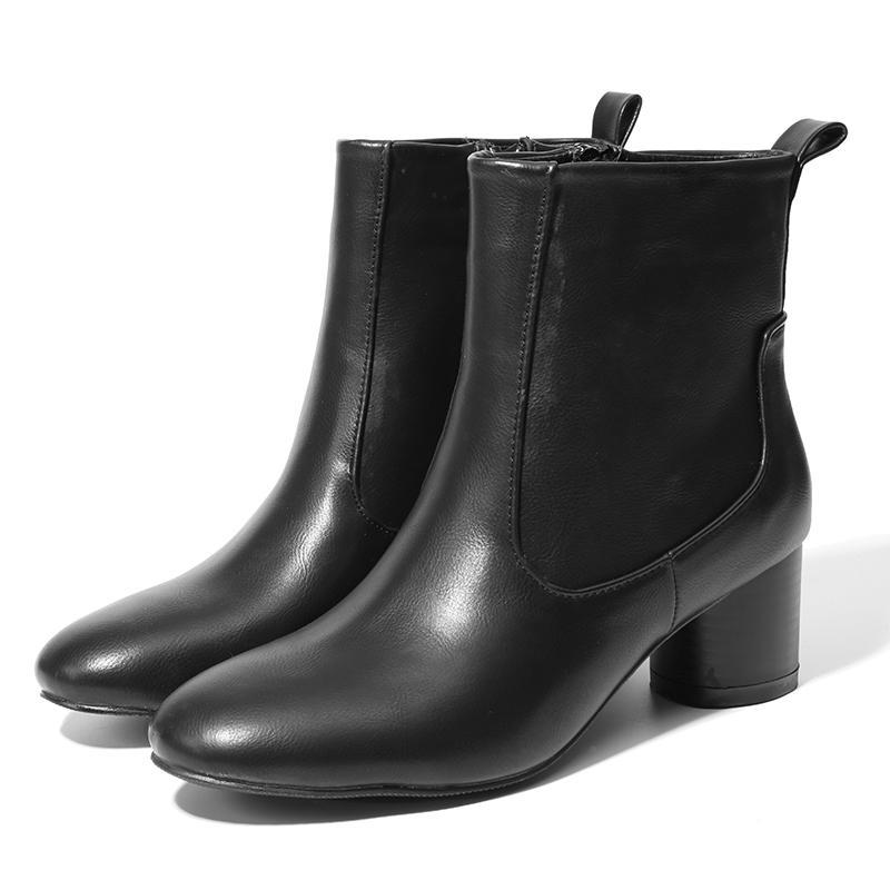 32d42b356 Compre NIS Mulheres Tornozelo Botas, Preto PU Curto Plush / Cinza ...