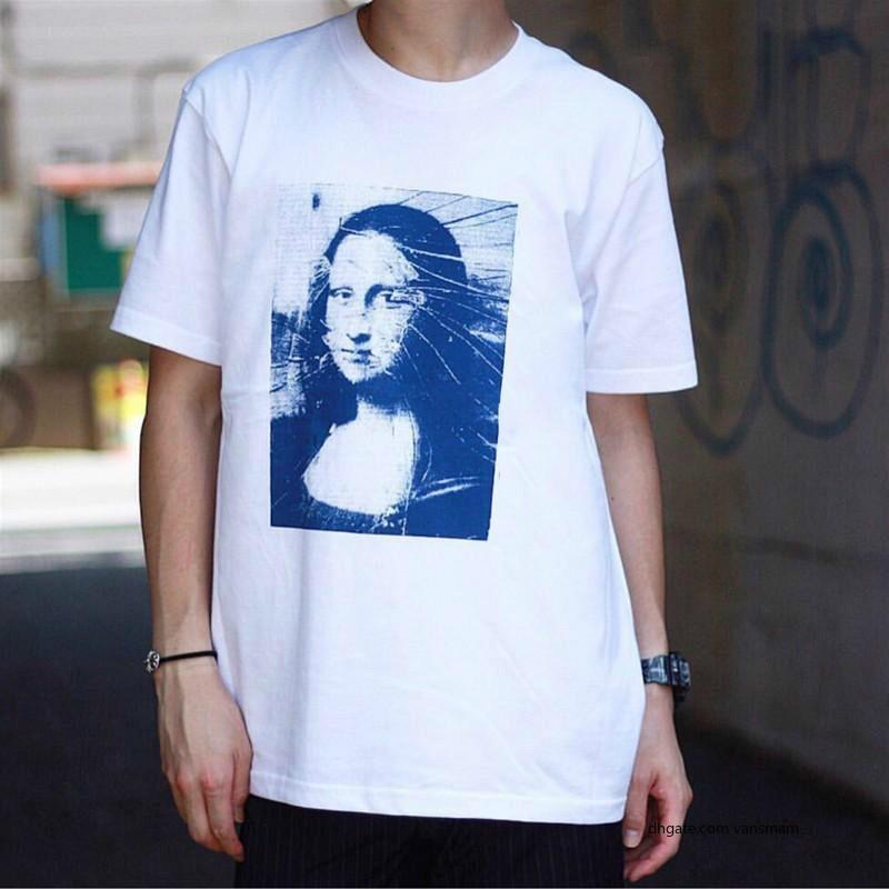 Box Logo 18ss Week19 Mona Lisa Tee Tops Luxury Casual Street Skateboard Fashion Short Sleeved Summer Outdoor Tour free shipping