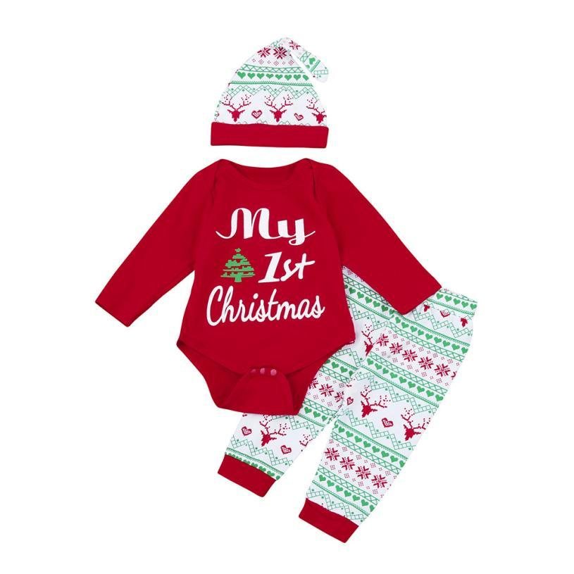 352a082e2d62 2019 Christmas Baby Boy Clothes Letter Baby Girl Clothing My First Christmas  Girls Newborn Outfits Set Romper+Pants+Hat L1130 Y18120303 From Shenping01