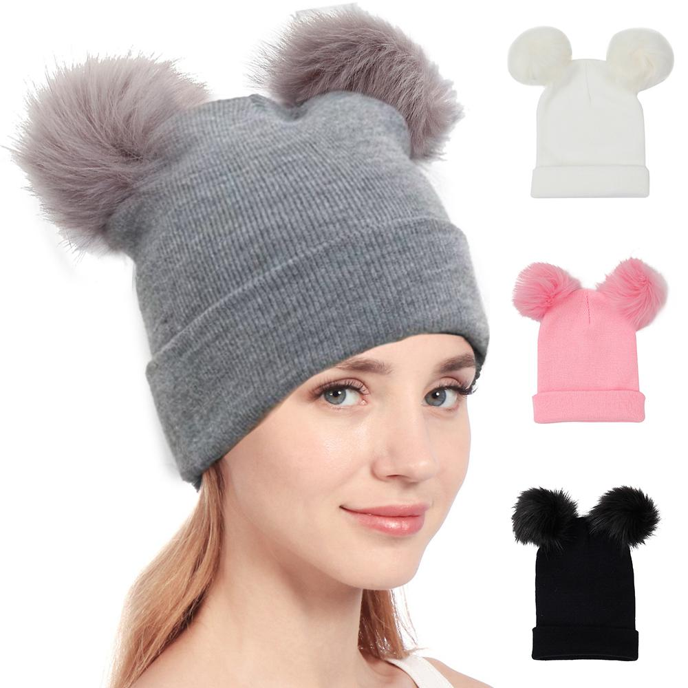 fd127c49f07 2018 Autumn New Women Faux Fur Pompom Hat Female Winter Warm Cap Knitted Beanie  Girl Double Ball Pom Pom Hats Woman Bonnet Femme Beanies For Girls Baby Hat  ...