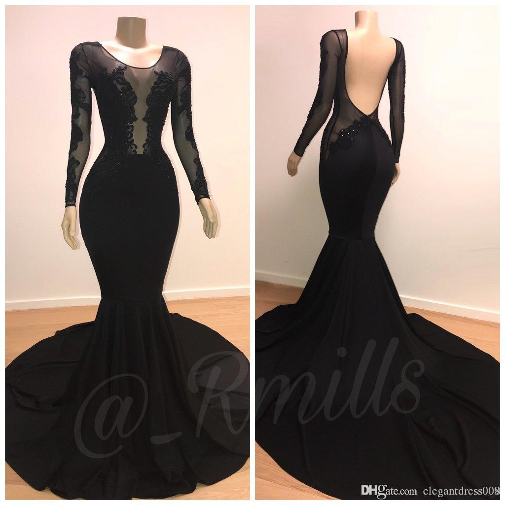 749fd311e2b 2019 Elegant Black Long Sleeves Mermaid Prom Evening Dresses Lace Applique  Backless Pleats Formal Dress Evening Gowns Party Wear Custom Classy Evening  ...