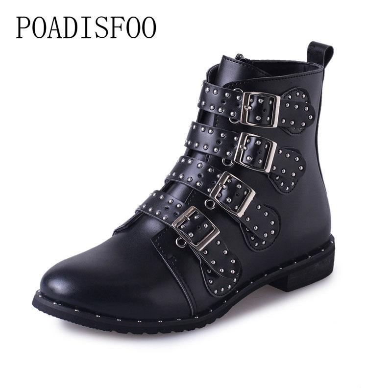 43962ca26 Compre Botines De Cuero Con Tachuelas En Negro Hebillas De Tacón Bajo Botas  Altas Para Mujer Zapatos Mujer Zapatos Para Mujer Tamaño 42 HYKL 6618 A   10.93 ...