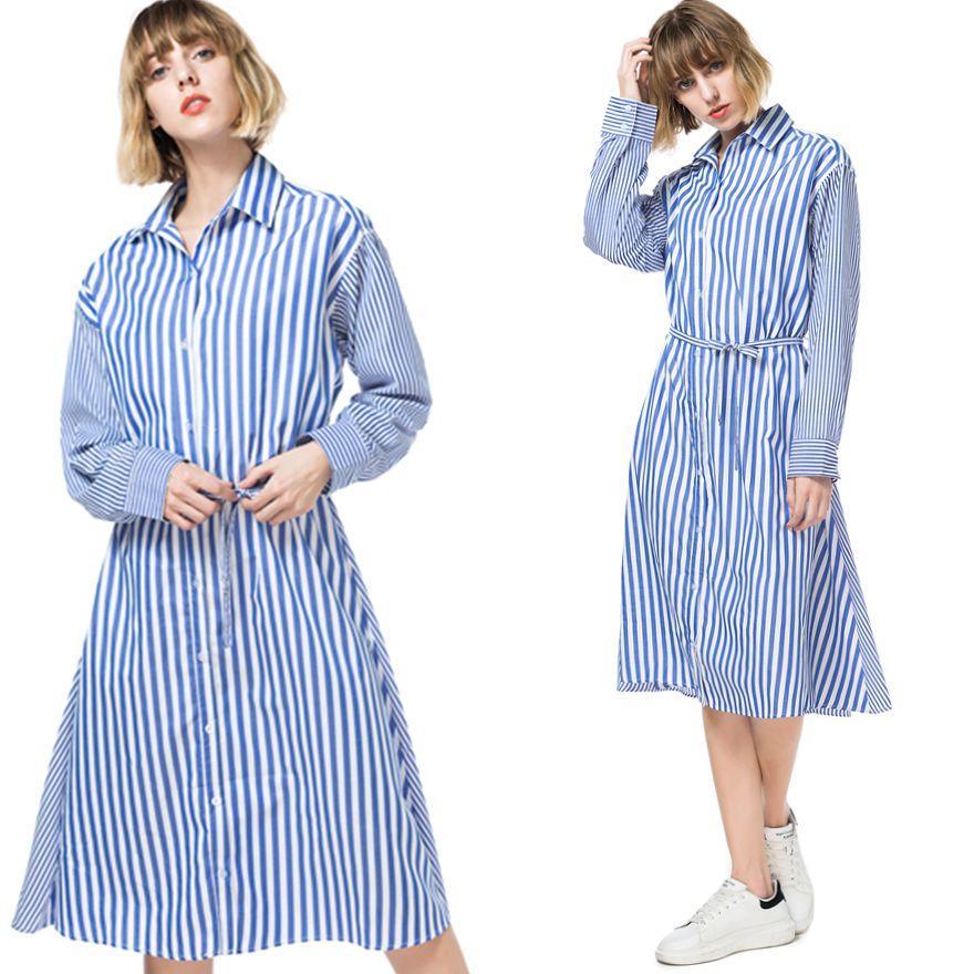 cd2d83f8 Compre Vestidos De Las Mujeres Tallas Grandes Talla Azul Manga Larga Moda  Casual Trabajo De Oficina Por La Noche Elegante Dama New Look Camisa Suelta  ...