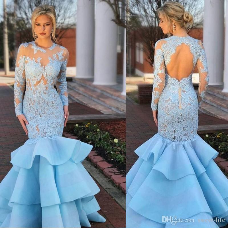 2019 Long Sleeves Blue Lace Sexy Mermaid Ruffles Illusion Celebrity Evening Gown Prom Party Dresses Customized Formal Dress