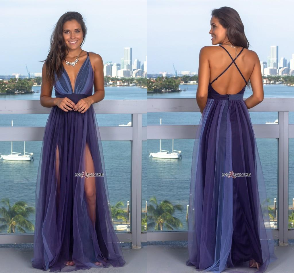 3bc35b4d2b00f 2019 Sexy Sleeveless Deep V-Neck Evening Gowns Criss Cross Strings Tulle  Prom Dress With Zipper Backless Party Wear Custom Made