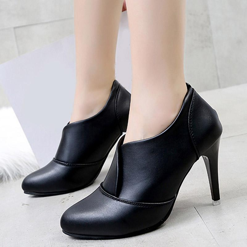 Designer Dress Shoes 2019 Women New Slip On Autumn Pumps Ladies PU Leather  Thin High Heels Female Design Sexy Fashion Dress Plus Size Boots For Men  Wedge ... 92c4c00276