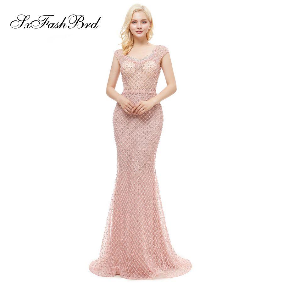 4d4fca1ad Compre Sencillo Elegante O Cuello Cap Mangas Abalorios Sirena Larga Rosa  Fiesta De Tul Mujeres Formales Vestidos De Noche Moda Vestido De Fiesta  Vestidos A ...