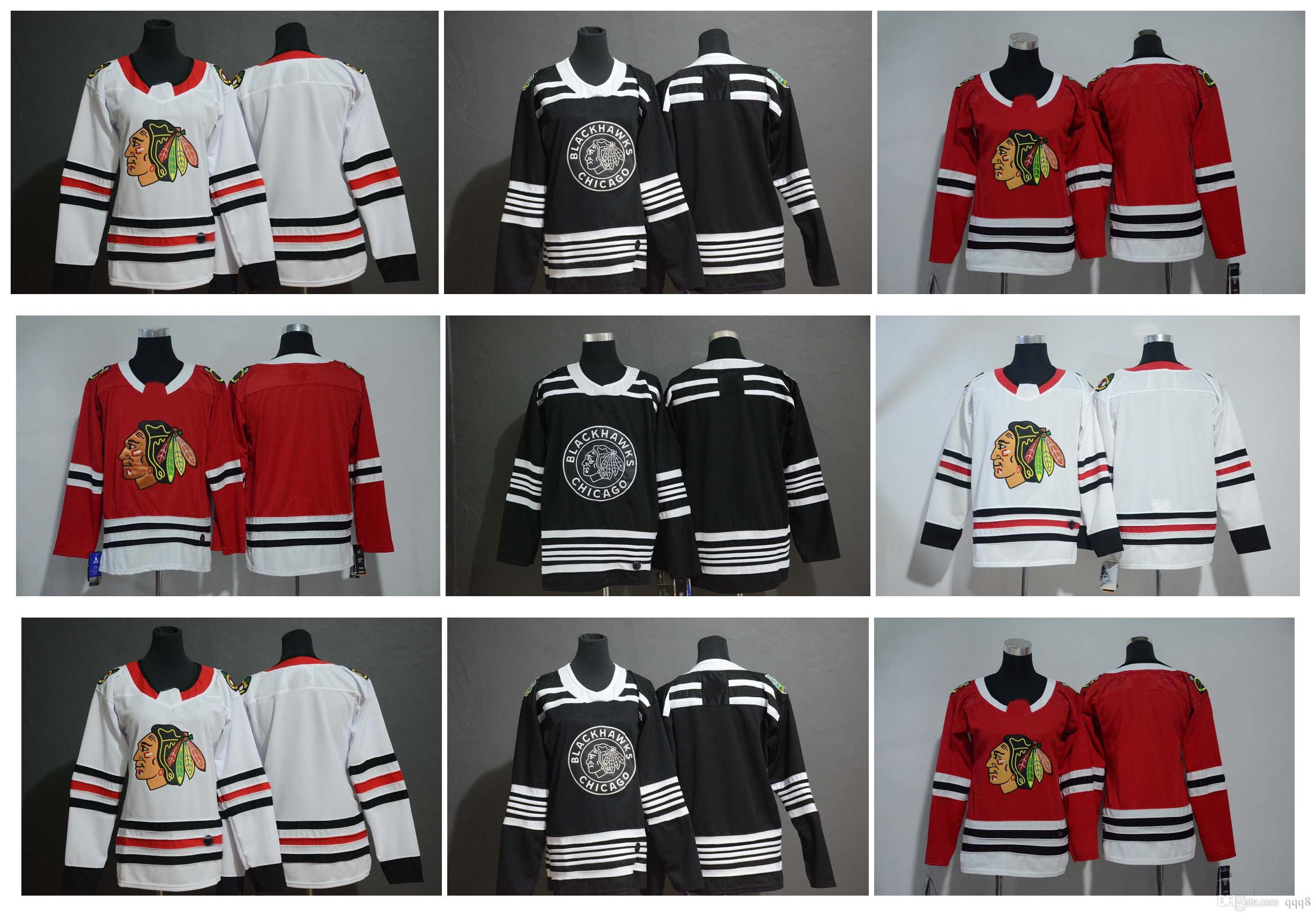 super popular 9337e 6f581 2019 Winter Classic Chicago Blackhawks Jersey Men's Kids Women's Blank No  Name Number Red White Black Stitched Hockey Jersey
