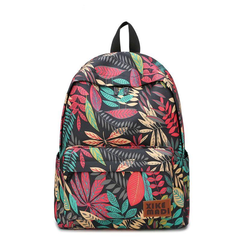 2c015447cd00 2019 FashionBrand Women Backpacks For Teenage Girls Floral Printed School  Bags Travel Leisure Laptop Backpack Female Canvas Backpacks Black Leather  Backpack ...