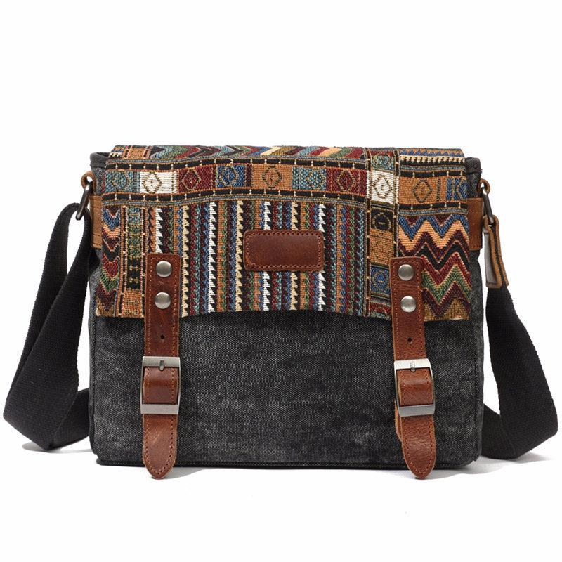 07cd3e27ad01 Hot Sale Retro National Style Men And Women Canvas Messenger Shoulder Bag  Cross Body Cycle School Satchel Bags Vintage Casual Travel Bags Leather  Backpack ...