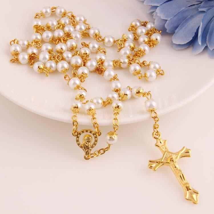 White Pearl Necklace Gold Rosary Bead Chain Religious Jesus Cross Necklace for women 6mm Promotion Price New Hot