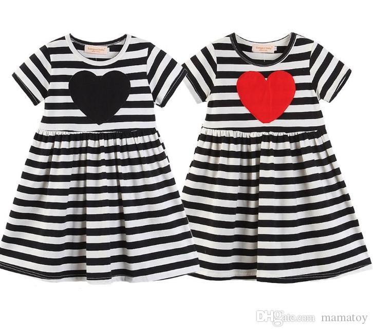 Girls Valentine S Day Stripe Dress Short Sleeve 100 Cotton Girls
