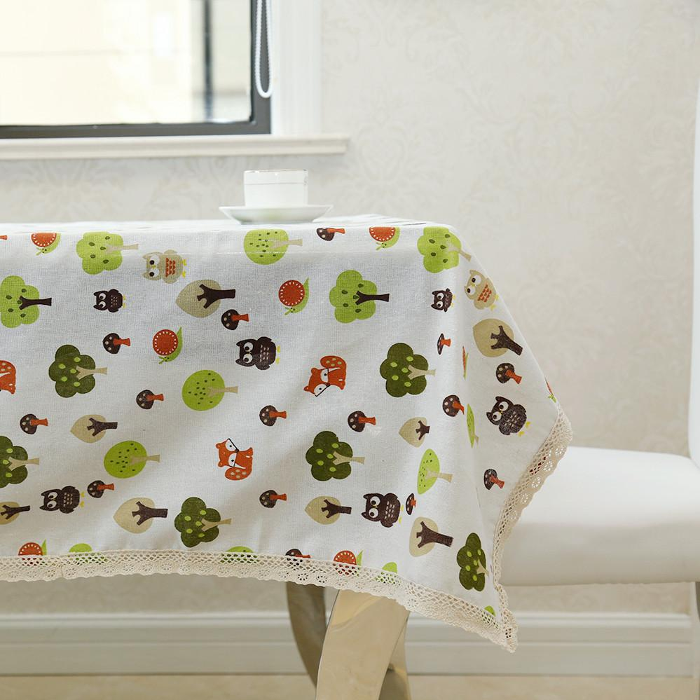 Latest High Grade Cartoon Trees Owls  Breakfast Desk Cover Tablecloth for Table Decoration Table Linen for Garden