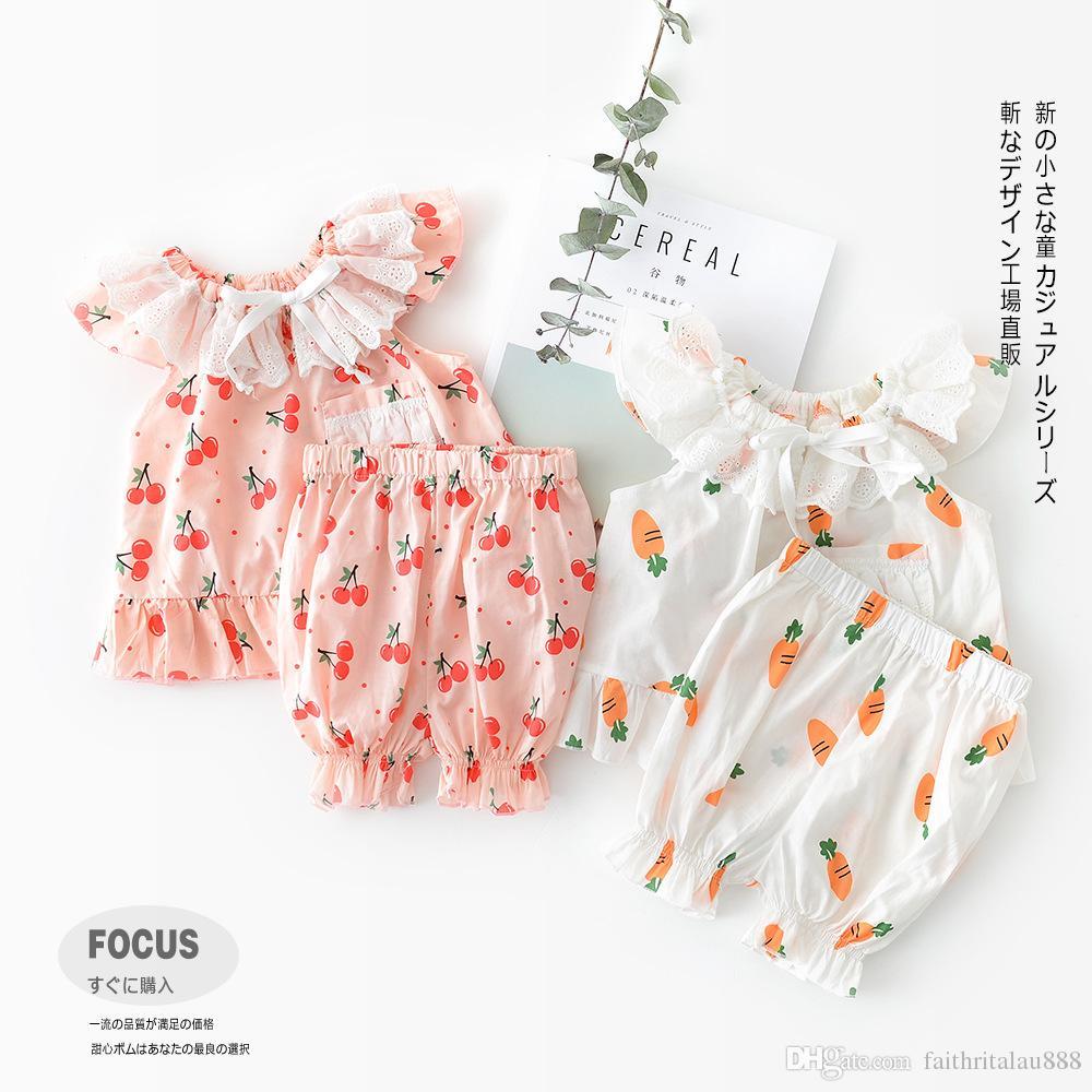8740d83a 2pcs set cute Newborn Baby kids designer clothes girls sets Summer Fruits  Vegetables Printed Tops Dress + Shorts Toddler Infant Outfits Sets