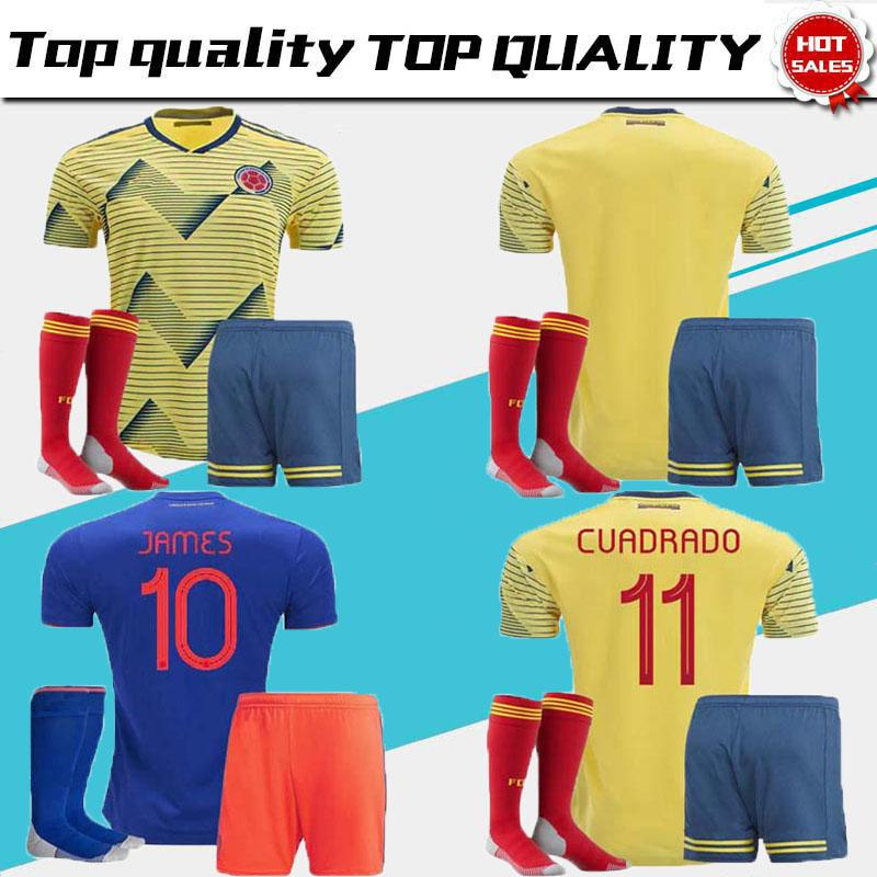 57ef17db1 2019 2019 World Cup Colombia Soccer Jersey Adult Kits Colombia Home Yellow  FALCAO JAMES CUADRADO Soccer Uniform Football Shirts Full Sets From ...