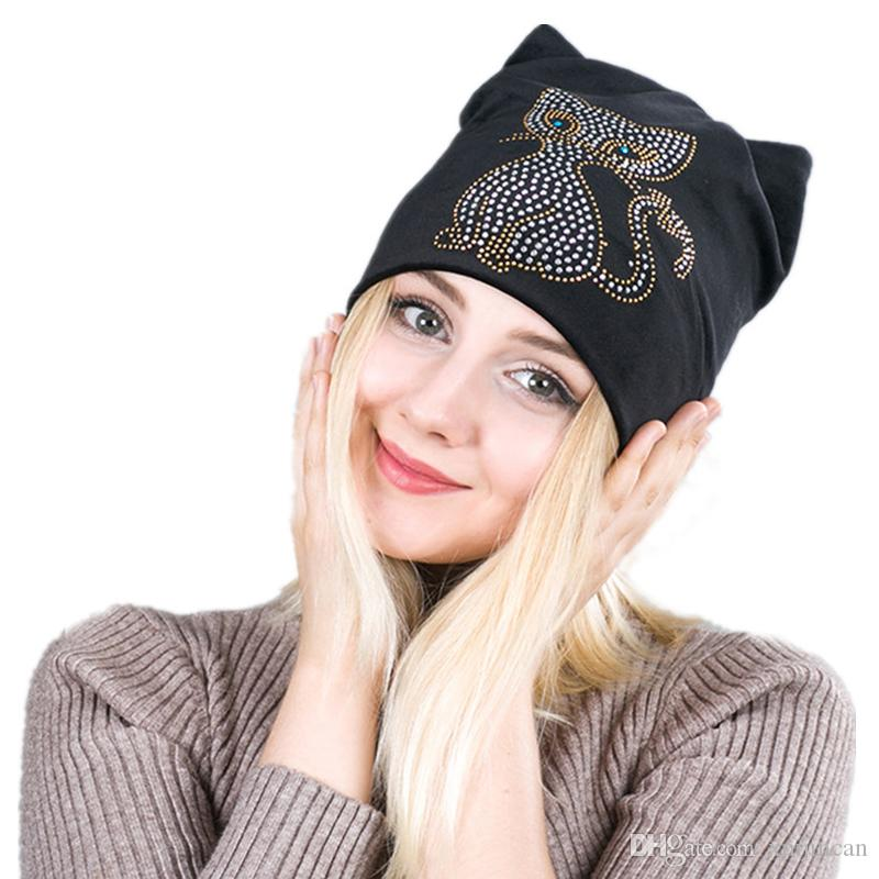 bf9c17cb2f / New Cartoon Cat Rhinestone Winter Hat For Women Cute Warm Velvet Cap  Bonnet Beanie Hats Knitted Hats Knit Cap From Xmjincan, $713.57| DHgate.Com