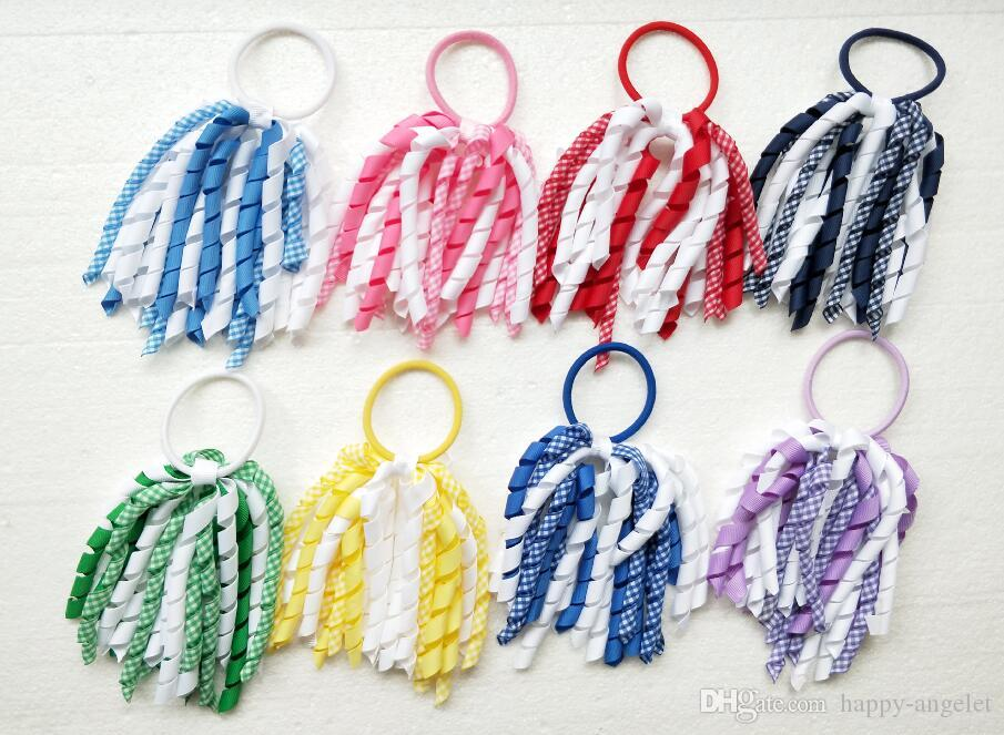 "10pcs 5"" Curly tassel gingham ribbon korker ponytail holders streamer corker plaid hair bows ties bobbles elastic accessories headwear PD027"