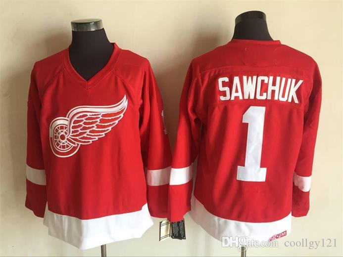 De calidad superior Vintage # 1 Terry Sawchuk Jersey para hombre Detroit Red Wings Hockey Jersey Home Red Classic Terry Sawchuk Hockey Jersey cosido