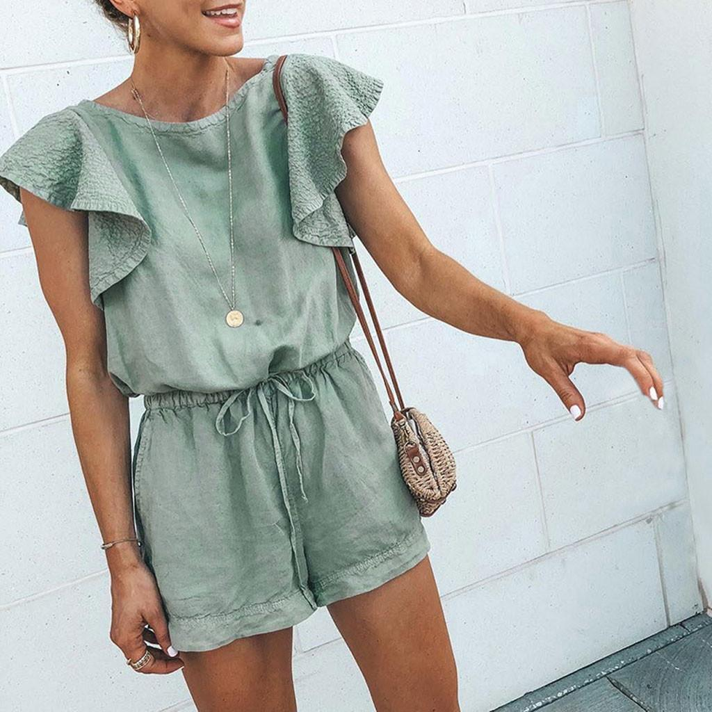 Women ladies summer sleeveless Ruffles playsuit fashion casual Overalls for women bandage loose playsuits Jumpsuit Rompers