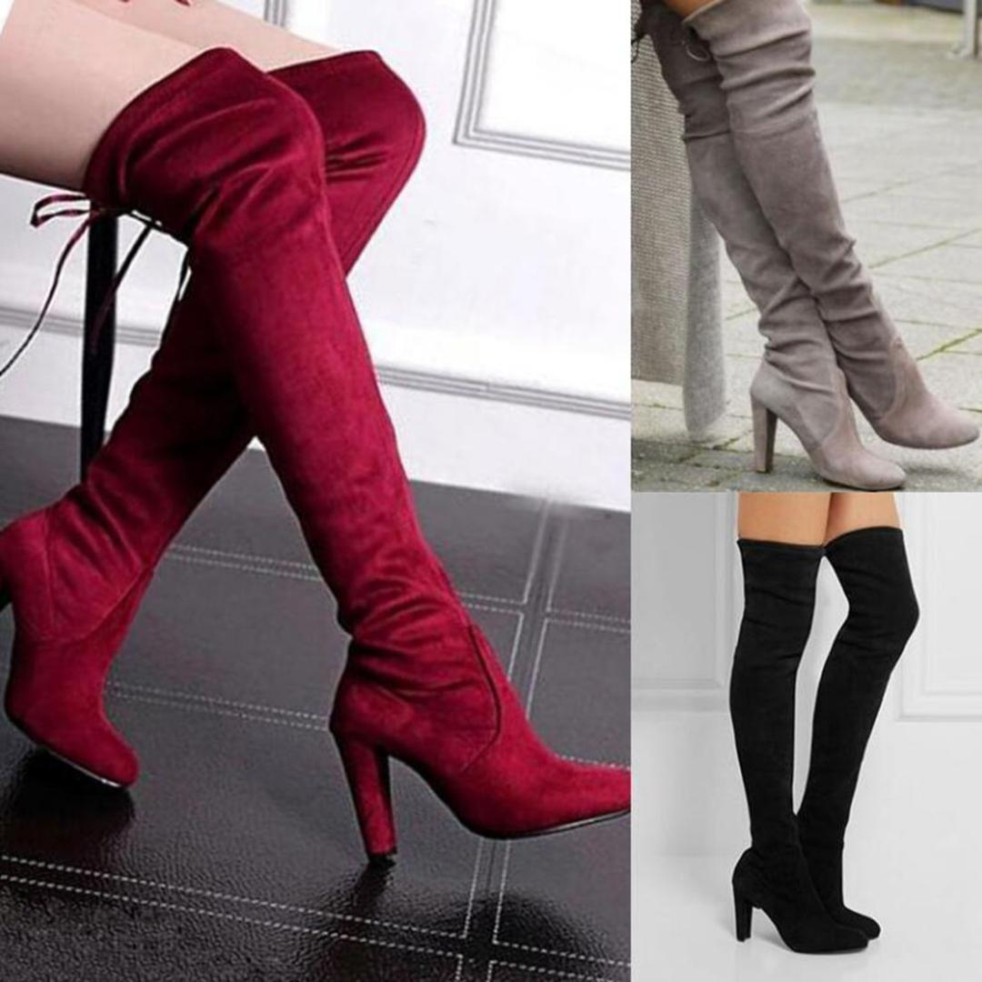 0b0d0429264 Women Faux Suede Thigh High Boots Sexy Stretch Over The Knee Boots High  Heels Pointed Toe Long Women Shoes Black Gray Red Boots Office Shoes From  Foxtotho