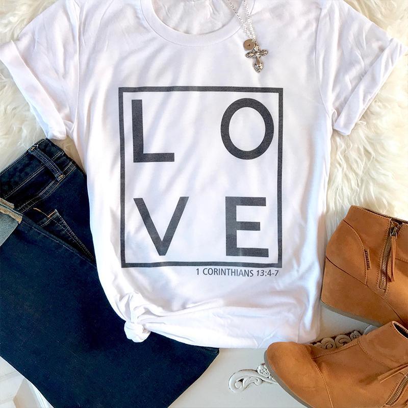 be842178 Oversized T Shirt Women Love Tee Christian T Shirt Jesus Faith Harajuku  Causal Cotton Woman Clothes Tops Q190524 T Shirt Designer Graphic T Shirts  From ...