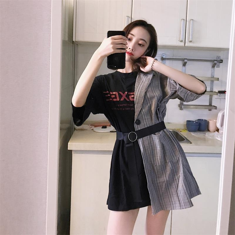 adc9623bd8b Women s Clothes Japan Kawaii Retro Female Korean Harajuku Dresses For Women  Lattice Stitching Fake Two Piece Letter Dress