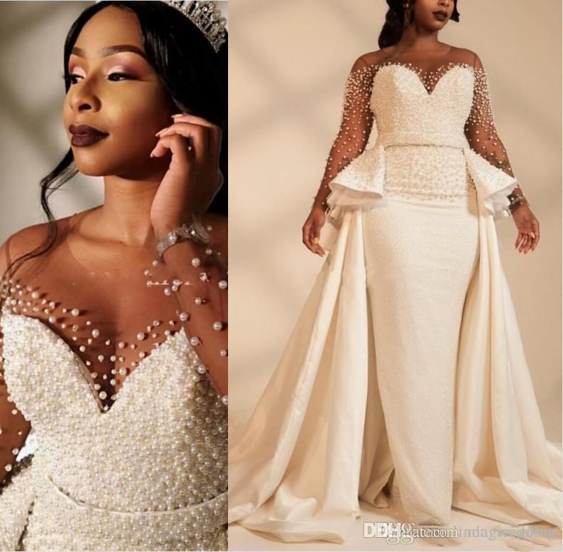 South African Black Girls Luxury Plus Size Mermaid Wedding Dresses Long Illusion Sleeve Pearls Beads Garden Church Bride Bridal Gowns